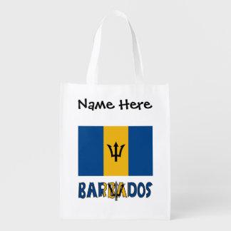 Barbadian Flag and Barbados Reusable Grocery Bag