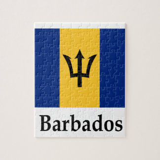 Barbados Flag And Name Jigsaw Puzzle
