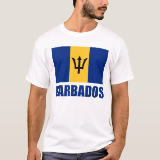 Barbados Flag Blue Text T-Shirt