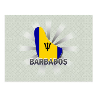 Barbados Flag Map 2.0 Post Cards