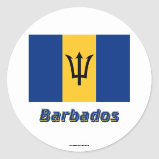 Barbados Flag with Name Classic Round Sticker