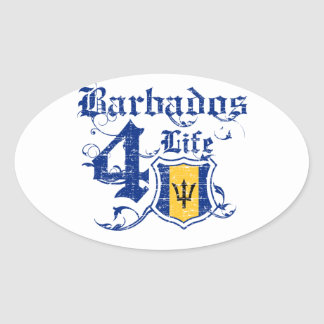 Barbados for life oval sticker