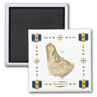 Barbados Map + Flags Magnet