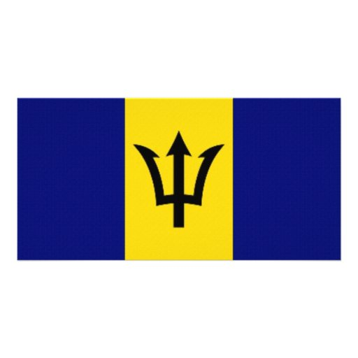 Barbados National Flag Photo Card Template