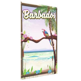 Barbados Parrot Landscape travel poster Canvas Print