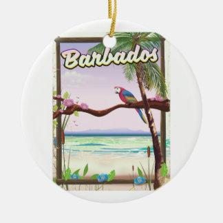 Barbados Parrot Landscape travel poster Ceramic Ornament