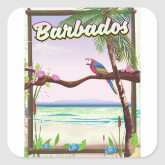 Barbados Parrot Landscape travel poster Square Sticker