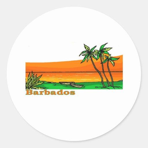 Barbados Round Stickers