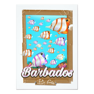Barbados Tropical Fish travel poster Card