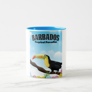 Barbados Tropical Paradise travel poster Two-Tone Coffee Mug