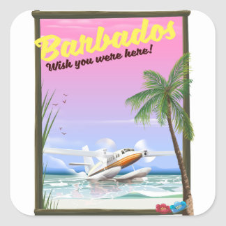 Barbados - wish you were here! square sticker