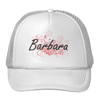 Barbara Artistic Name Design with Flowers Cap