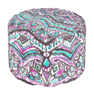 Barbarian Feather Boho Watercolor Tribal Pouf