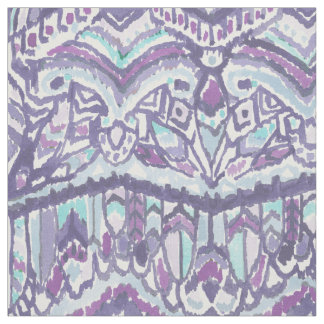 BARBARIAN TRIBE Purple Feather Ikat Tribal Fabric