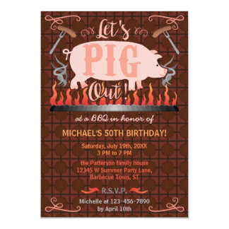 Barbecue BBQ Funny Pig Summer Birthday Party 13 Cm X 18 Cm Invitation Card