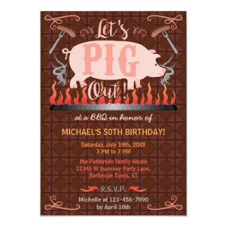 Barbecue BBQ Funny Pig Summer Birthday Party 13 Cm X 18 Cm Invitation Card