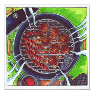 Barbecue Grill with hamburgers and hotdogs Card