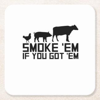 Barbecue Grilling Funny Gif Smoke'Em If You Got'Em Square Paper Coaster