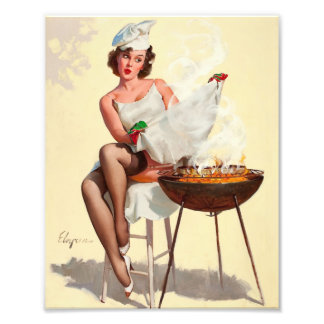 Barbecue Pin-Up Girl Photo Print