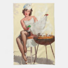 Barbecue Pin-Up Girl Tea Towel