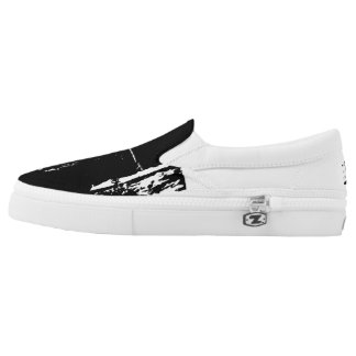Barbed Black and White Zip Shoes Printed Shoes