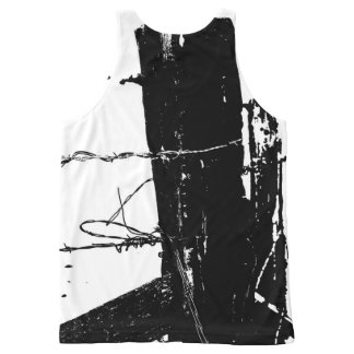 Barbed is black and white fence post with wire All-Over print tank top