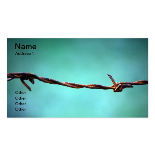 barbed WIRE AGAINST SKY BLUE BACKGROUND RANDOM ABS Business Cards