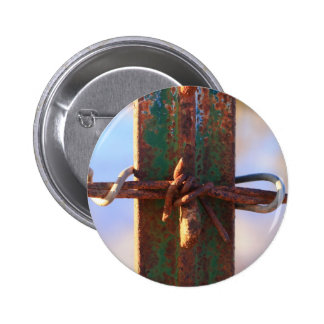 Barbed Wire and Rust Cross Pinback Buttons