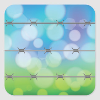 barbed wire background square sticker