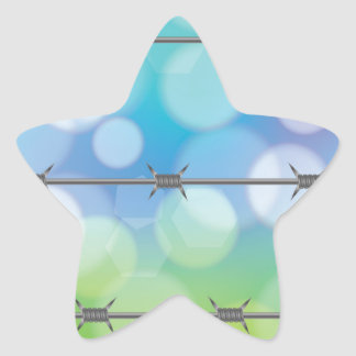 barbed wire background star sticker