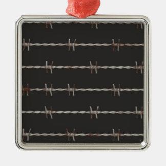 Barbed Wire Silver-Colored Square Decoration