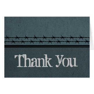 Barbed Wire Fence Biker Thank You Card, Blue Card