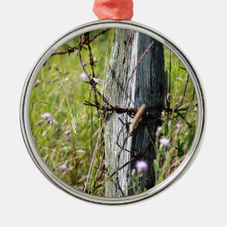Barbed wire fence post Silver-Colored round decoration