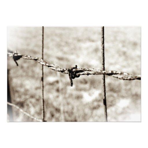 Barbed Wire Fencing (Sepia) Personalized Invite