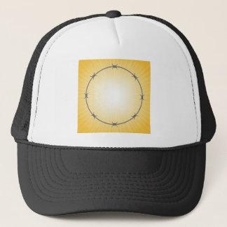 barbed wire frame trucker hat