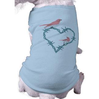 Barbed Wire Heart Birds Sleeveless Dog Shirt