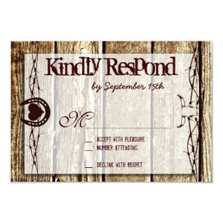 Barbed Wire Horseshoe Country Western RSVP Cards 9 Cm X 13 Cm Invitation Card