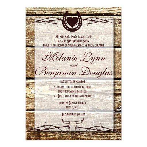 Barbed Wire Horseshoe Rustic Wedding Invitation Personalized Invitations