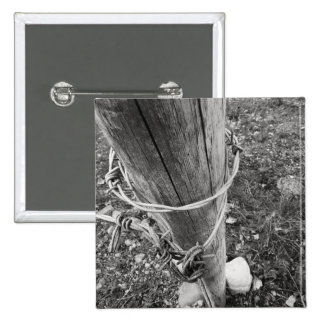 Barbed Wire Post BW Photo Art Pin