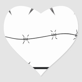 barbed wire set heart sticker
