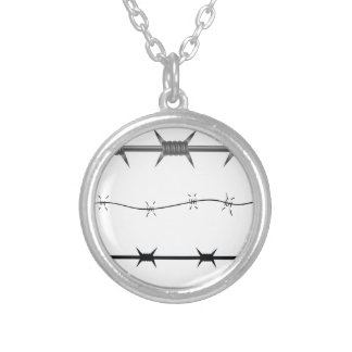 barbed wire set silver plated necklace