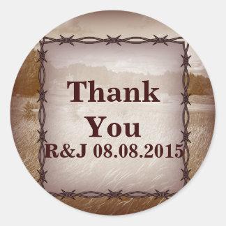 barbed wire western country wedding round sticker