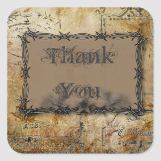 barbed wire western country wedding square sticker