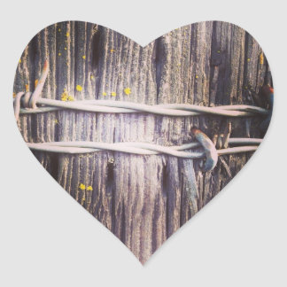 Barbed Wood Texture Heart Stickers