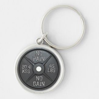 Barbell Plate - No Pain No Gain Key Chain