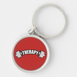 Barbell - THERAPY - Workout Inspirational Key Ring