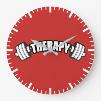 Barbell - THERAPY - Workout Inspirational Large Clock