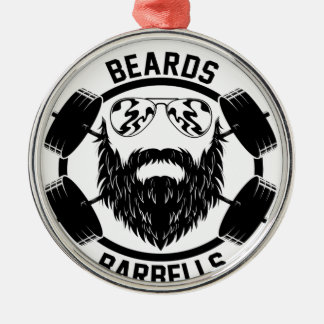 barbells beards Silver-Colored round decoration