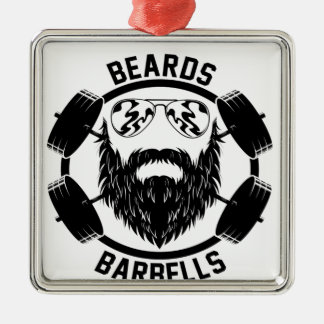 barbells beards Silver-Colored square decoration
