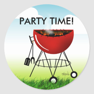 Barbeque Grill Party Time Sticker